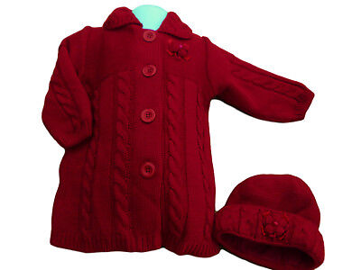 BNWT Baby girls Christmas red chunky knitted winter cardigan coat  hat  set