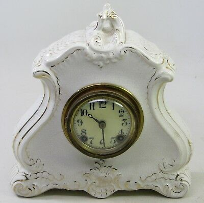 Antique Gilbert Porcelain Mantel Shelf Clock