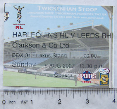 2007 ticket Harlequins v. Leeds Rhinos, Clarkson & Co. Box 31