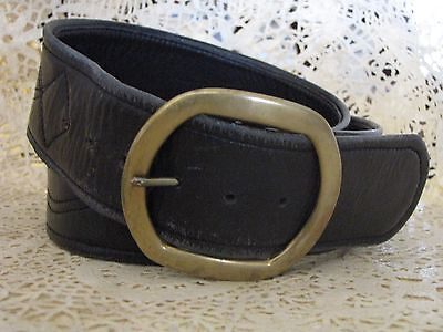 Black Leather or Faux Leather Solid Brass Buckle Stitched Design Belt Vintage 80