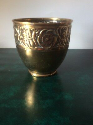 Brass Planter Vintage With Floral Decoration