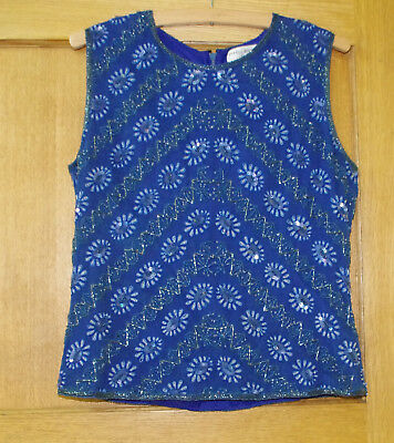 Vintage 1980s blue beaded silk lined  top 12