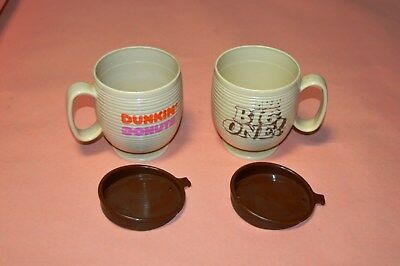 """2 Older Used Dunkin Donuts """"the Big One"""" Mugs With Lids"""