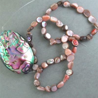 "ONE, 15"" strand of Mother of Pearl ABALONE Nugget Beads, PLUS large FOCAL"