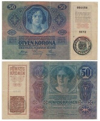 """5o Crowns Romanian bancnote- Bukovina- issued in 02.01.1914 vf overprint """"Timbru"""