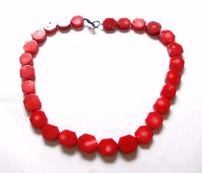 Vintage 1970's Genuine Red Coral Beads Hexagonal Beaded Chunky Necklace