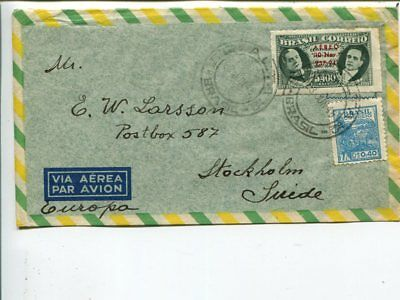Brazil air mail cover to Sweden 1948