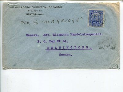 Brazil cover to Sweden 1920