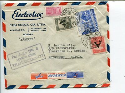 Colombia Clipper airmail cover to Sweden 1951