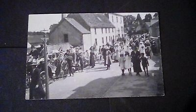 Pembrokeshire??,Unidentified postcard,showing busy scene,clue is Red Lion Hotel.