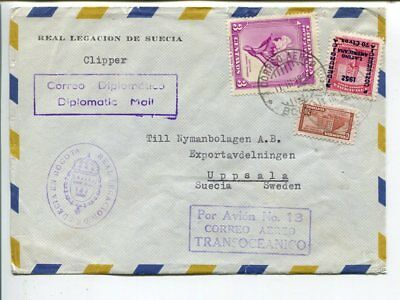 Colombia air mail cover to Sweden 1953