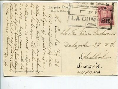 Colombia post card to Sweden 1926