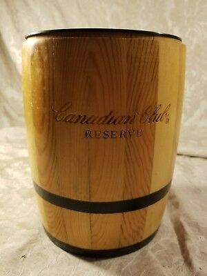 Canadian Club distillery Wood and plastic ice barrel bucket & Ceramic Pitcher