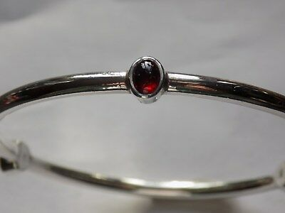 GORGEOUS 3 RED STONES 925 SILVER  BANGLE (no scrap)   10g