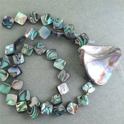 "ONE, 15.5"" strand of Abalone Dimonds PLUS Natural Abalone Shell Pendant"