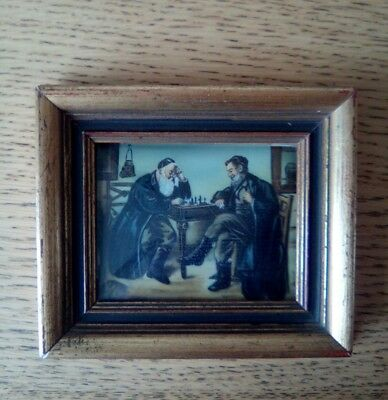 18th/19thc MINIATURE PAINTING, JEWISH /ITALIAN SCENE ?  THE CHESS PLAYERS 1of2.