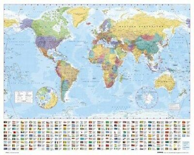 Mini Poster World Map with Flags Map of the World 50 x 40 cm