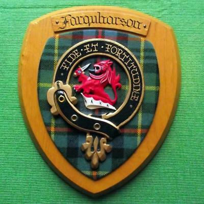 Vintage Scottish Hand Carved Oak Clan Farquharson Tartan Plaque Crest Shield