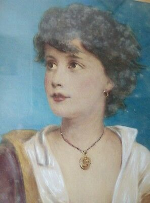 Lovely 19thc colourful portrait of a young lady in patina frame behind glass.