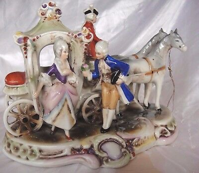 Large Vintage German Gräfenthal Porcelain Horse Drawn Carriage With Passengers