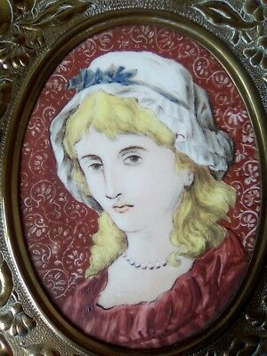 19thc minature PORTRAIT YOUNG LADY, IN BRASS FOLIAGE FRAME, ANTIQUE OIL PAINTING