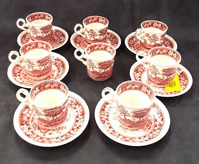 SPODE 15 Pieces Pink Tower Espresso Set Made In England - F04