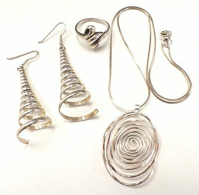 925 STERLING SILVER Jewellery Lot - Necklace, Earrings & Ring, 20.48g - C59