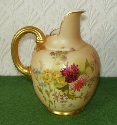 Antique Royal Worcester Jug 1094 Blush Ivory & Hand Painted Flowers Edwardian