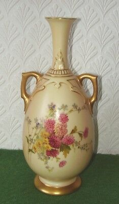 Antique Royal Worcester Vase 1762 Blush Ivory & Hand Painted Flowers Edwardian