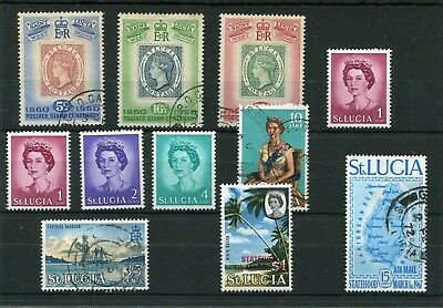St.lucia 11 -- Qe2 1960's Mounted Mint/ Used Stamps On Stockcard