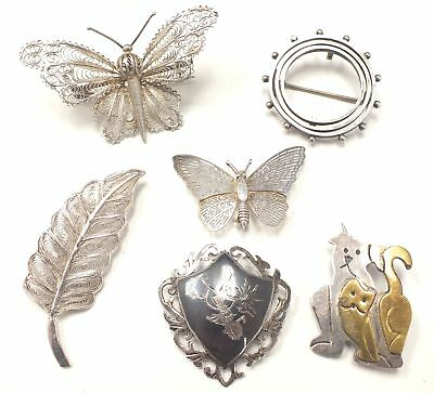 6x BROOCH - Includes 4x 925 STERLING SILVER Pieces - Butterflies, Cats Etc - W71