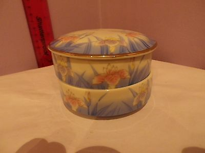 Superb Two Tier Vintage Japanese Porcelain Iris Flowers Des Lidded Trinket Pot