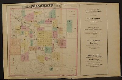 Ohio Portage County Map City of Ravenna & Engravings 1874 Dbl Pg/Side  Y14#27