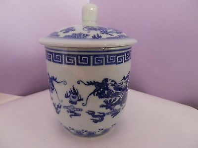 Chinese Porcelain Blue & White Dragons Chasing Flaming Pearl Des Lidded Mug/cup