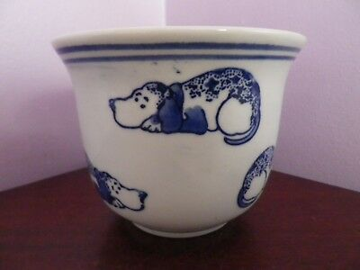 Fab Vintage Chinese Blue & White Many Dogs Design Plant Pot/planter 10.5 Cms Dia