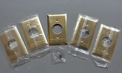 NOS Vintage Lot of 5 Pass & Seymour Brass Outlet Cover Plates with screws