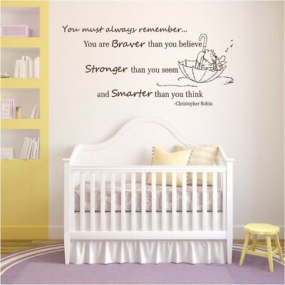 winnie the pooh wall decal quotes nursery braver than you believe