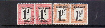 SOUTH WEST AFRICA 1923 POSTAGE DUE 1d & 1½d ROULETTED SGD7&D8 FINE USED CAT £46
