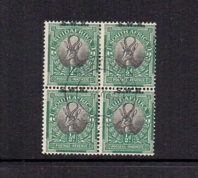 SOUTH WEST AFRICA 1927 ½d SG58 FINE USED BLOCK OF 4 MIS-PLACED OVPRT CAT £17