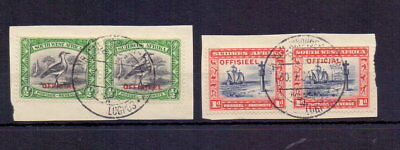SOUTH WEST AFRICA 1931 OFFICIAL ½d & 1d SGO13-O14 FINE USED ON PIECE CAT £43