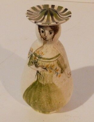 "Charming Vintage Signed Pottery Hand Painted Lady 6"" Cruet / Decanter / Vessel"