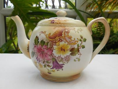 Antique Wiltshaw & Robinson Early Carlton Ware Cornucopia Teapot c1894-1925