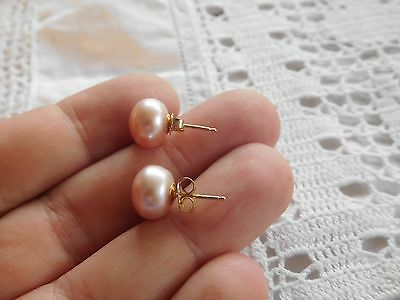 Beautiful Vintage Pink Genuine REAL Cultured Pearl Earrings on 14ct GOLD
