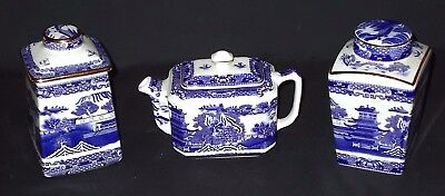 WADE for Ringtons BLUE WILLOW Small Teapot and Two Small Tea Caddies