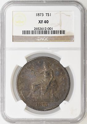 1873 P NGC XF40 Trade Dollar Tough Date First Year Color a Little Off - I-9513