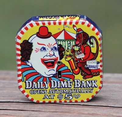 Vintage 1940's - 1950's Daily Dime Coin Bank Tin Litho'd Circus Clown & Monkey