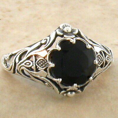 Genuine Black Agate Art Nouveau 925 Sterling Antique Style Silver Ring Sz 7,#761