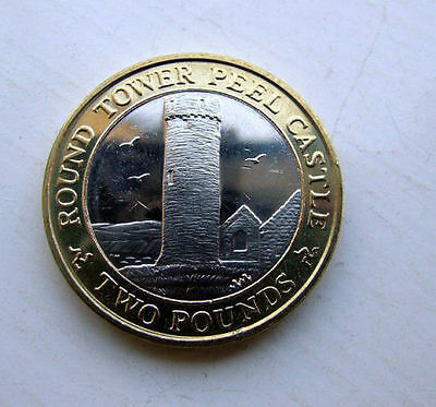 2012 IOM £2 Two Pound Coin UNC  PEEL CASTLE Round Tower,Low Mintage