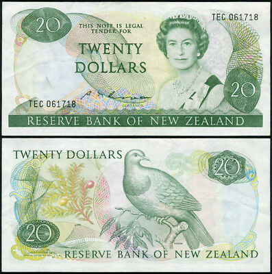 Pick# 173 B 20 Dollars 1985-1989 New Zealand VF+