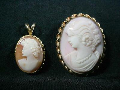 NobleSpirit NO RESERVE {3970} 14KT Gold Cameo Pendant w/12KT Gold Filled Cameo P